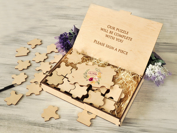 Personalized Wedding Guestbook Puzzle 20-236 pieces Engagement Guest Book Rustic Wedding Decor Custom Jigsaw Puzzle Wedding Modern Sign
