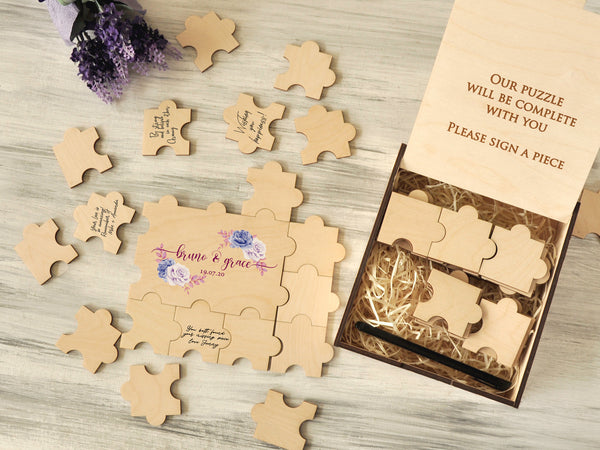 Wedding Wooden Guestbook Personalized Jigsaw Puzzle Blue Flowers Print Custom Alternative Guest Book Puzzle Bridal Party Gift for Couple