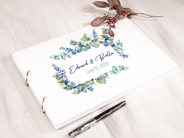 Wedding Guest Book Watercolor Leaves Dusty Blue Wedding Guestbook Personalized Guest Book Bridal Shower Guest Book Wedding Gift for Couple