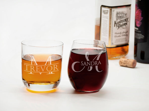 His and Hers Toasting Glasses Mr and Mrs Gifts Husband and Wife Glasses Wedding Couple Gift Whiskey and Wine Glasses Mr and Mrs Glasses