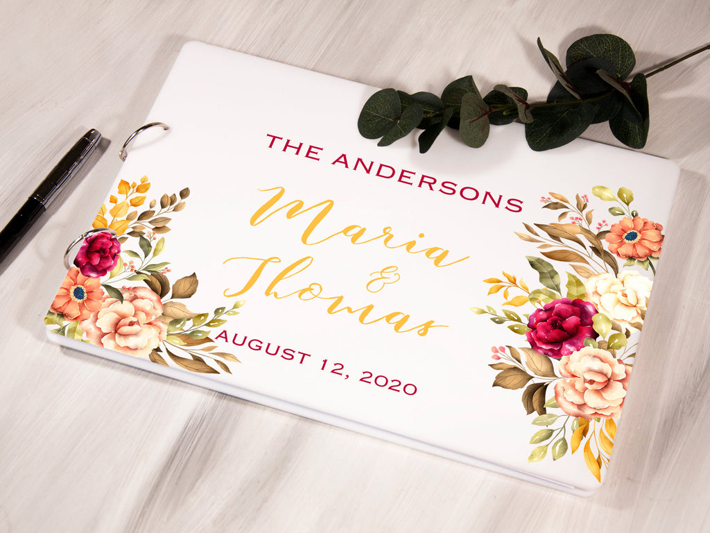 Personalized Wedding Guest Book, Acrylic Guest Book, White Guest Book, Horizontal Wedding Book, Unique Wedding Guestbook, Rustic Wedding