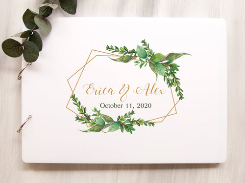 Greenery Wedding Guest Book, Personalized Wedding Guestbook, Instant Photo Wedding Album, Calligraphy Wedding Book, Wedding Sign In Book