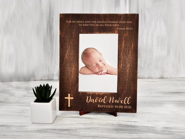 Personalized Baptism Picture Frame Christening Gift for Baby Custom Photo Frame Gift from Godmother Engraved Frame Godfather Gift for Boy