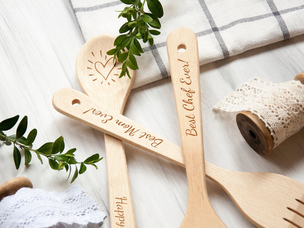 Wooden Spoon and Spatula Set Mothers Day Gift Kitchen Utensils Birthday Mom Gift from Daughter Personalized Spatula Anniversary Gift for Mom