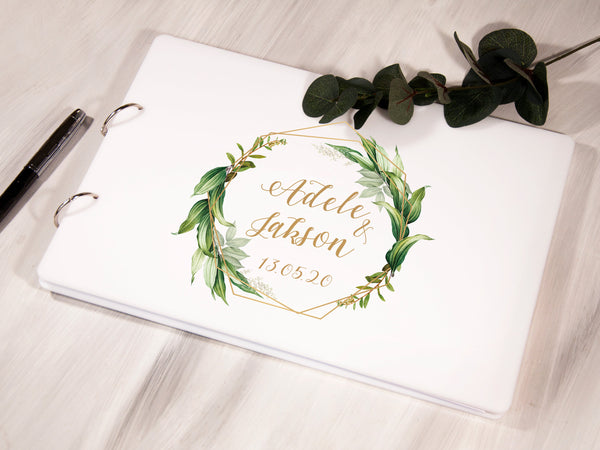 Personalized Wedding Guest Book Botanical Wedding Guestbook Greenery Wedding Custom Guest Book Wedding Scrapbook Album Rustic Guest Book