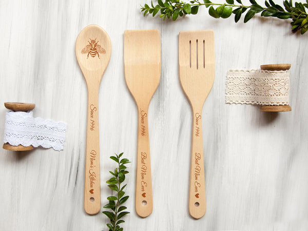 Gift for Mom Personalized Wooden Spoon & Spatula Gift Set Kitchen Utensils Unique Birthday Christmas Gift Custom Spoons Bumble Bee Design