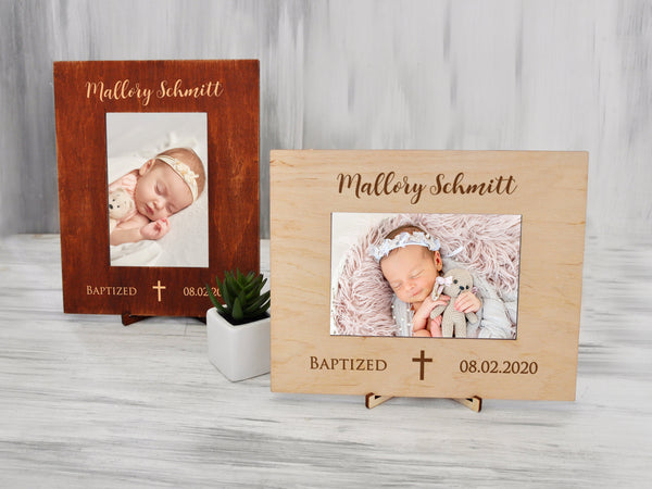 Baptism Gift for Girl Personalized Picture Frame Baptism Frame for Godchild from Godparents Christening Gift for Baby Engraved Photo Frame