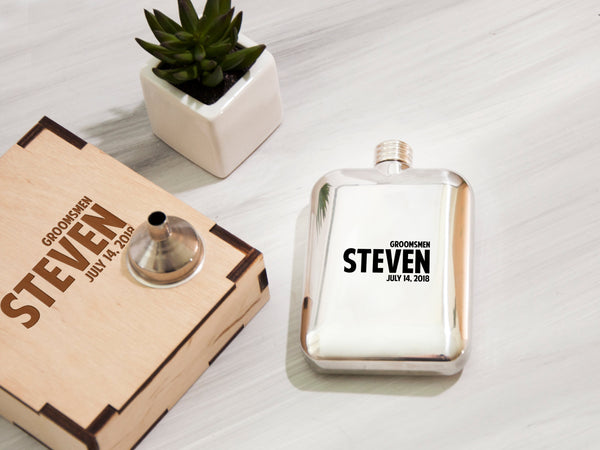 Engraved Flask, Father of the Groom Gift, Best Man Gift, Personalized Flask, Wedding Party Gifts, Unique Groomsmen Gifts Ideas, Flask 5 Oz