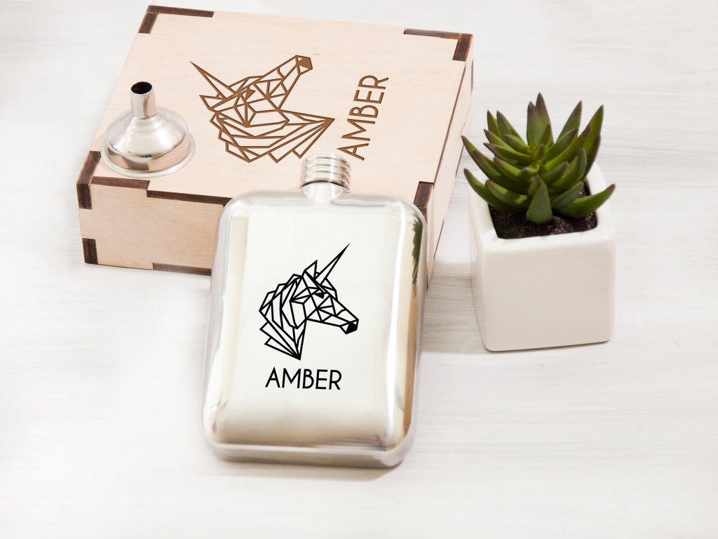 Personalized Wedding Gift for Her Engraved Geometric Unicorn Flask 5 Oz Wedding Party Gift Steel Hip Flask Woman Gift Ideas Custom Flask