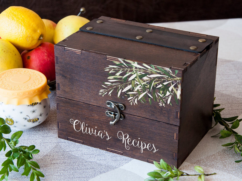 Wooden Recipe Box Olive Branch Print Housewarming Gift for Her Personalized Recipe Card Box Wedding Gift for Daughter in Law Recipe Dividers