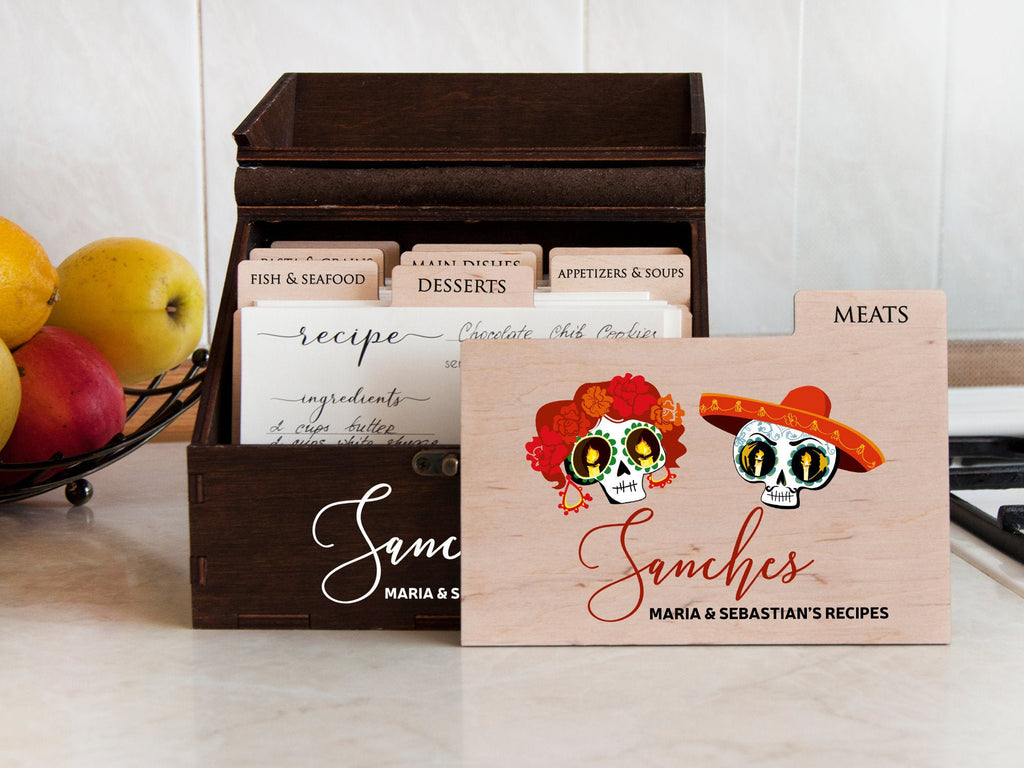 Halloween Wedding Gift Personalized Recipe Box with Dividers & Cards Sugar Skull Wooden Recipe Card Box Goth Wedding Bridal Shower Gift Idea