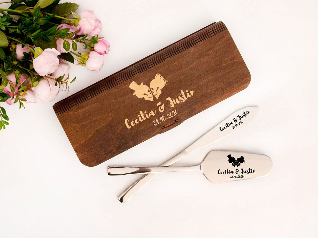 Halloween Wedding Cake Server Set Engraved Cake Knife & Server Personalized Skull Cake Knife Set Alternative Wedding Cake Cutting Set Bridal