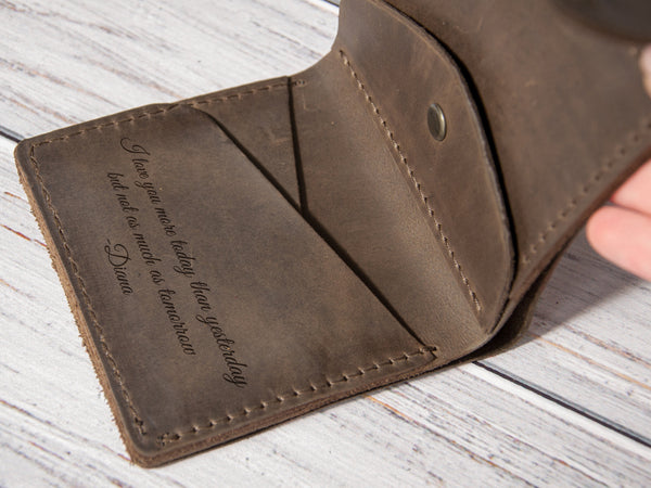 Personalized engraved leather small wallet for him