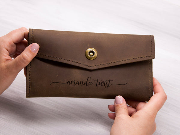 Personalized Leather Women Wallet Gift for Mom Unique Christmas Gift for Her Engraved Leather Wallet Anniversary Gift for Wife Large Wallet