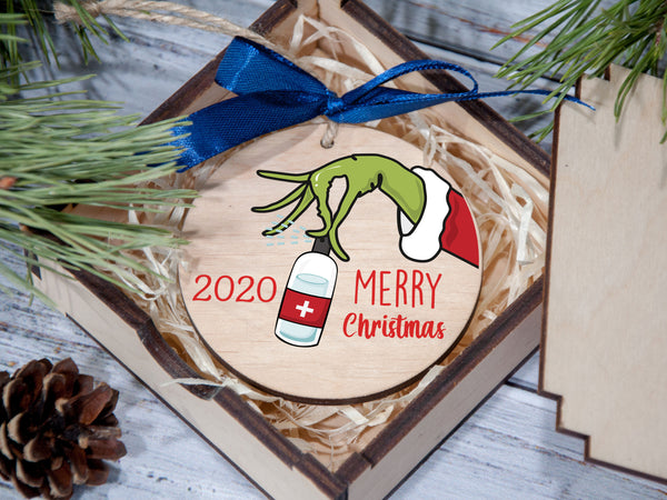 Funny Christmas Ornament, Quarantine Ornament, 2020 Pandemic Christmas Ornament, Custom Wooden Christmas Decoration, 2020 Keepsake Ornament