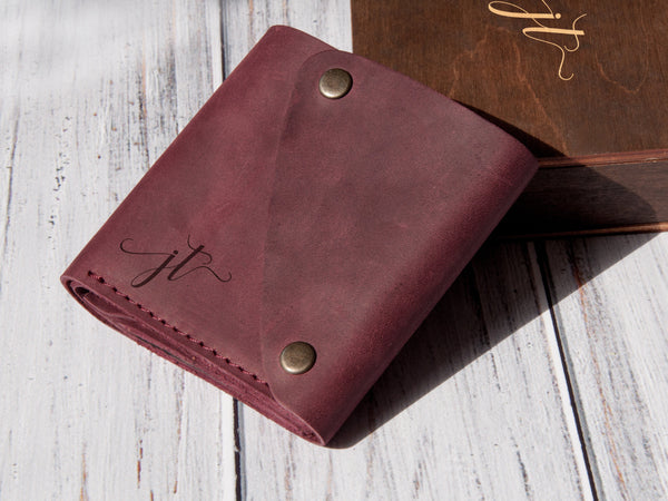 Personalized small women wallet, custom mini wallet, 3rd leather anniversary gift for wife, engraved wallet for woman, original gift for her