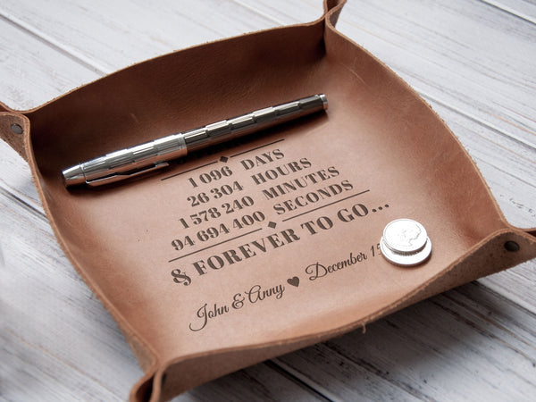 Custom Leather Valet Tray, 3rd Wedding Anniversary Gift for Husband, Catchall, Personalized Engraved Desk Valet Tray, Work from Home Gift