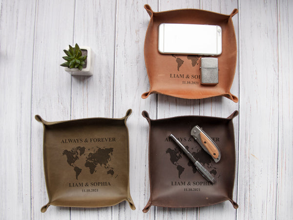 Custom Leather Valet Tray for Men - Personalized Leather Catch All, Christmas Gift for Him, Gift for Her, Anniversary Gift, Desk Organizer