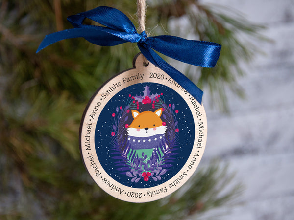 Personalized Christmas Ornament, Family Christmas Ornament, 2020 Xmas Decorations, Christmas Fox Ornament, Wooden Christmas Tree Ornament