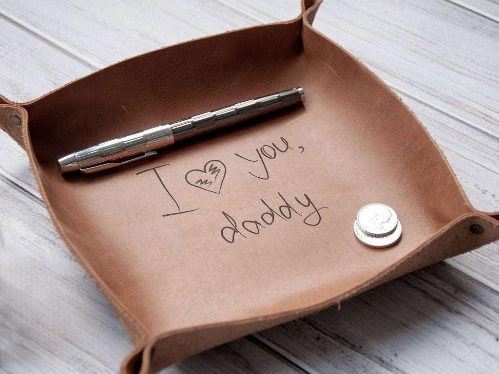 Your Handwriting Leather Tray, Catchall, Valet Tray, Christmas Gift for Men, Dad Gift, Personalized Leather, Custom Gift for Him, Mens Gift