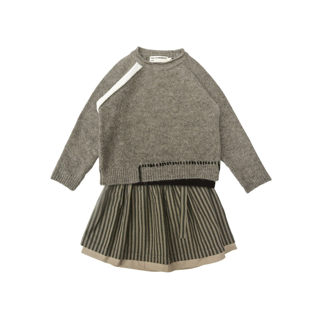 House of Little Jay | Grey Sweater & Striped Skirt