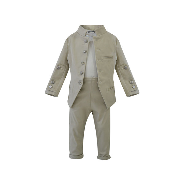 House of Little Jay | Military Jacket and Beige Trousers