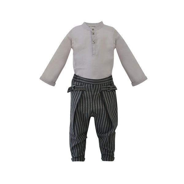 House of Little Jay | Off White Shirt & Striped Trousers