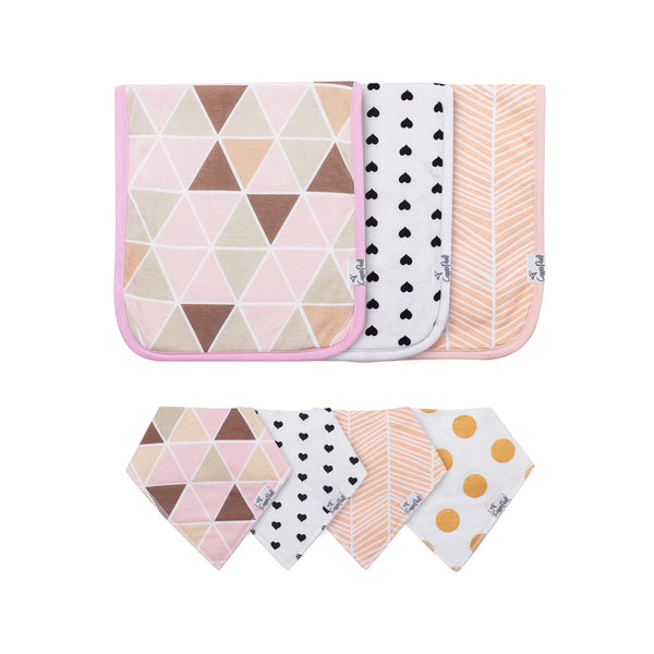 House of Little Jay | Blush Bib & Burp Cloth Set