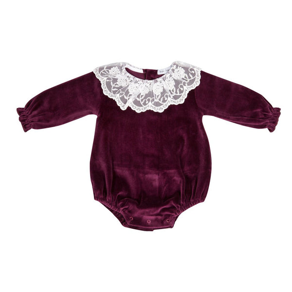 House of Little Jay | Maroon Lace & Velvet Romper