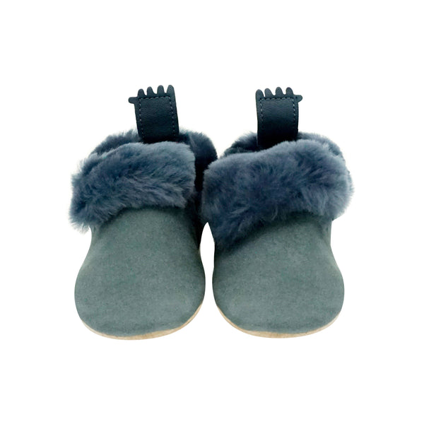 House of Little Jay | Blue Grey Furry Shoes