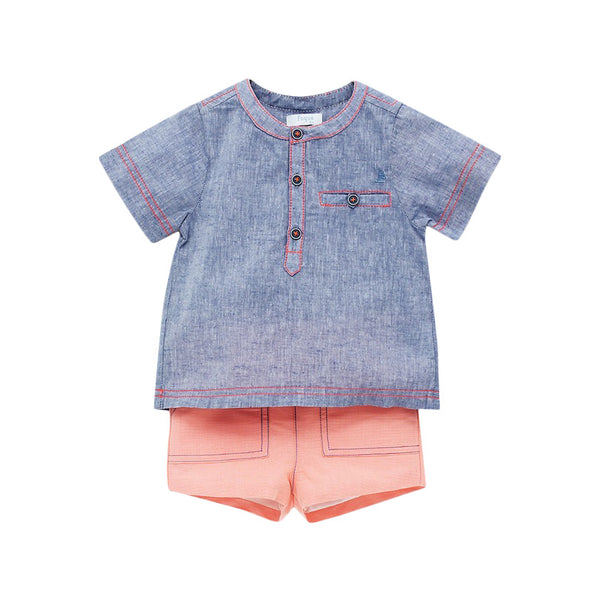 House of Little Jay | Linen Shirt and Coral Shorts