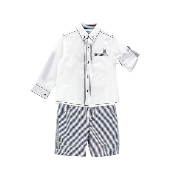 House of Little Jay | White Shirt and Striped Shorts