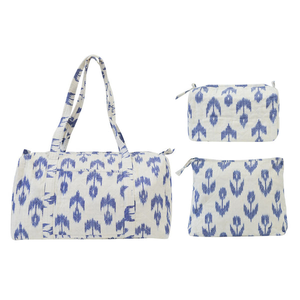 Blue Flower Diaper Bag Set