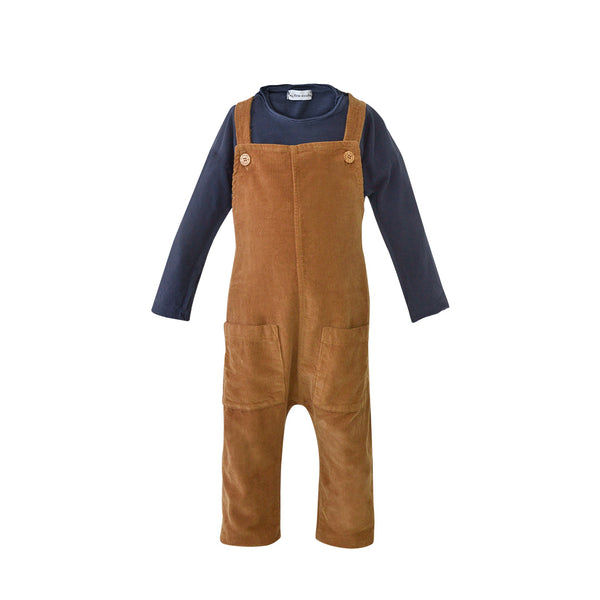 House of Little Jay | Navy Top and Caramel Corduroy Overall