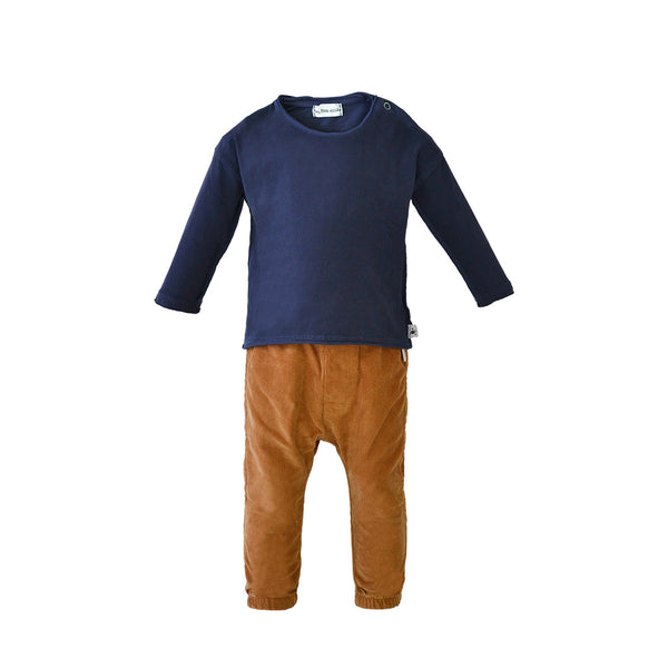 House of Little Jay | Navy Top and Caramel Corduroy Pants
