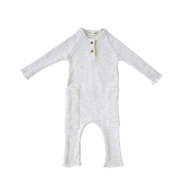 House of Little Jay | Light Grey Rib Romper