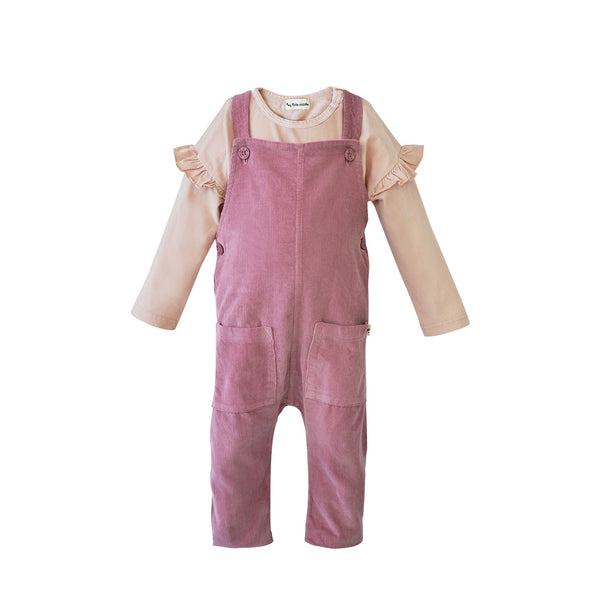 Vintage Pink Top and Corduroy Overall