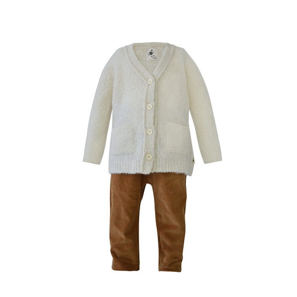 House of Little Jay | White Cardigan and Caramel Corduroy Pants