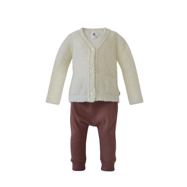 House of Little Jay | White Cardigan and Maroon Pants