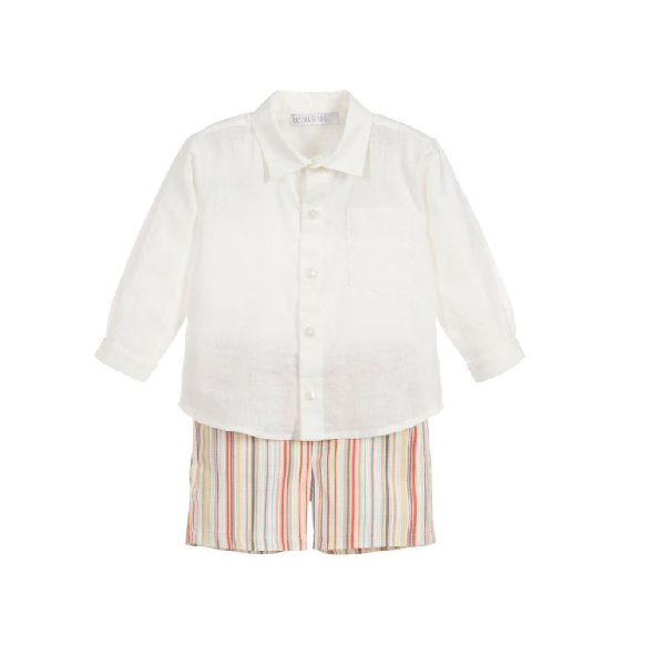 House of Little Jay | Ivory Shirt & Striped Shorts