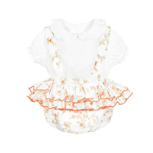 House of Little Jay | White Blouse and Peach Floral Romper