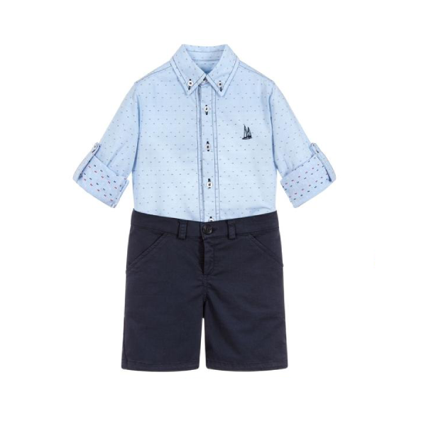 House of Little Jay | Dotted Shirt and Navy Shorts