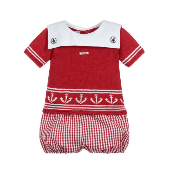 House of Little Jay | Red/White Top and Shorts