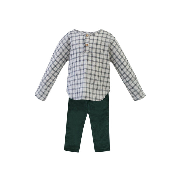 House of Little Jay | Checkered Long Sleeve Shirt & Green Corduroy Pants