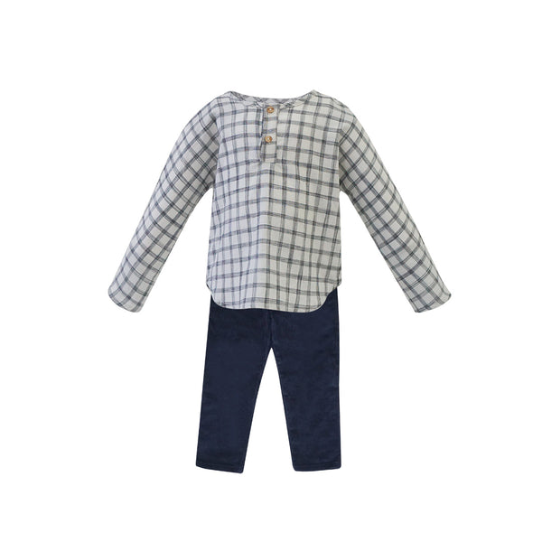 House of Little Jay | Checkered Long Sleeve Shirt & Navy Corduroy Pants