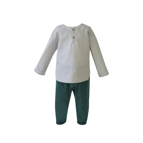 House of Little Jay | Baby Gray Long Sleeve Shirt & Green Corduroy Pants