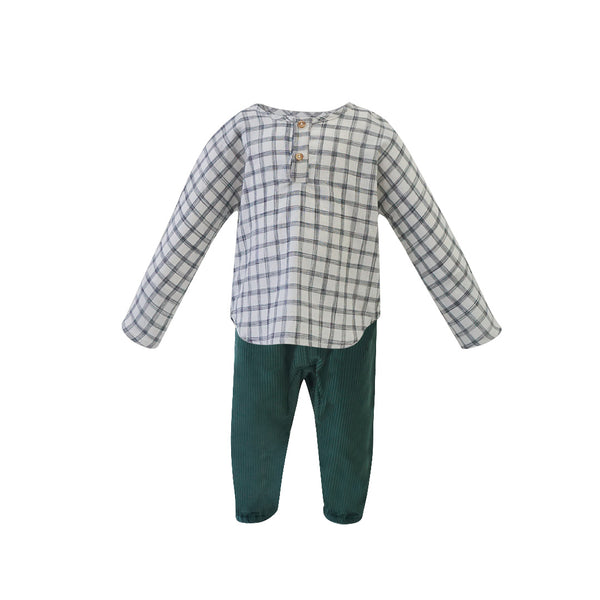 House of Little Jay | Baby Checkered Long Sleeve Shirt & Green Corduroy Pants