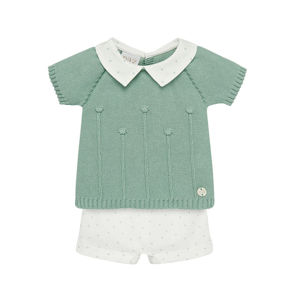 House of Little Jay | Green Knitted Top & White Shorts