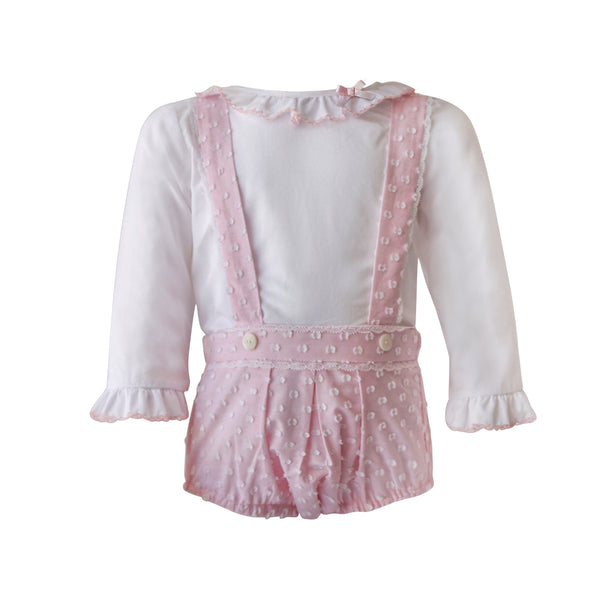 House of Little Jay | White Ruffle Top & Pink Romper