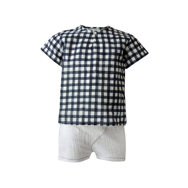 House of Little Jay | Checkered Short Sleeve Top & White Shorts